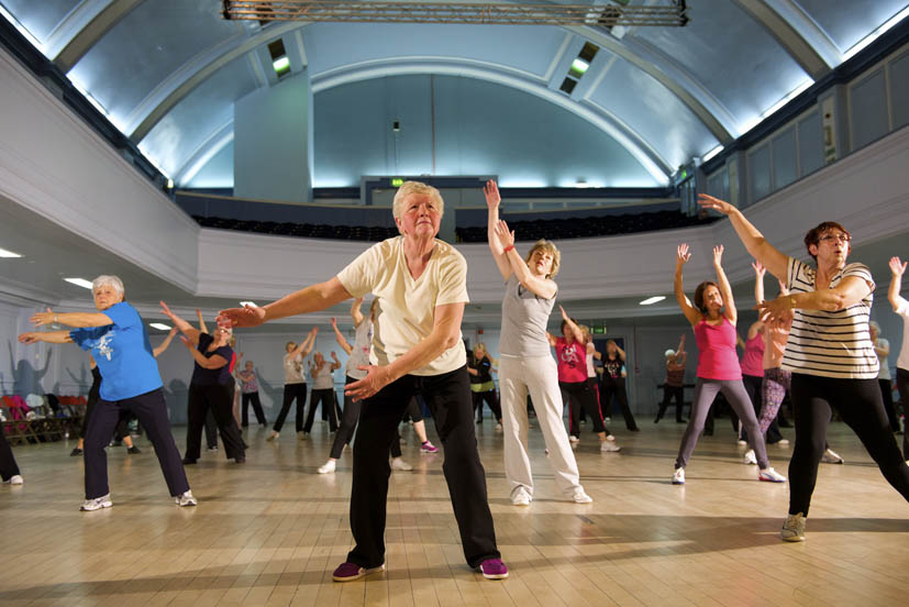 Kilmarnock, East Ayrshire, GBR - 13 May: A 'Shake 'n' Shimmy' exercise class taking place in Kilmarnock's Grand Hall on Tuesday 13 May 2014 in Kilmarnock, East Ayrshire.