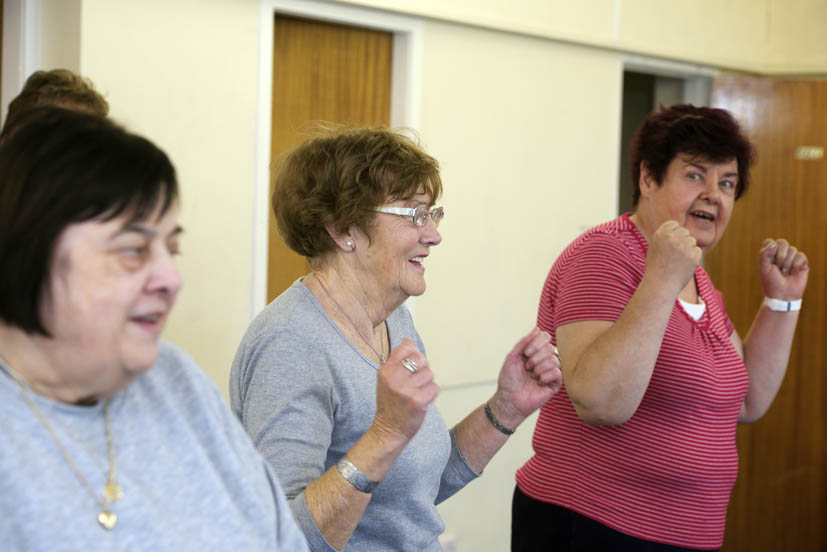 "Crosshouse, East Ayrshire, GBR - 13 May: A ""Invigor8"" exercise class taking place in Crosshouse Community Centre on Tuesday 13 May 2014 in Crosshouse, East Ayrshire."